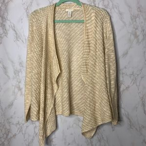 Chico's Tan & Cream loose knit cardigan sweater 2
